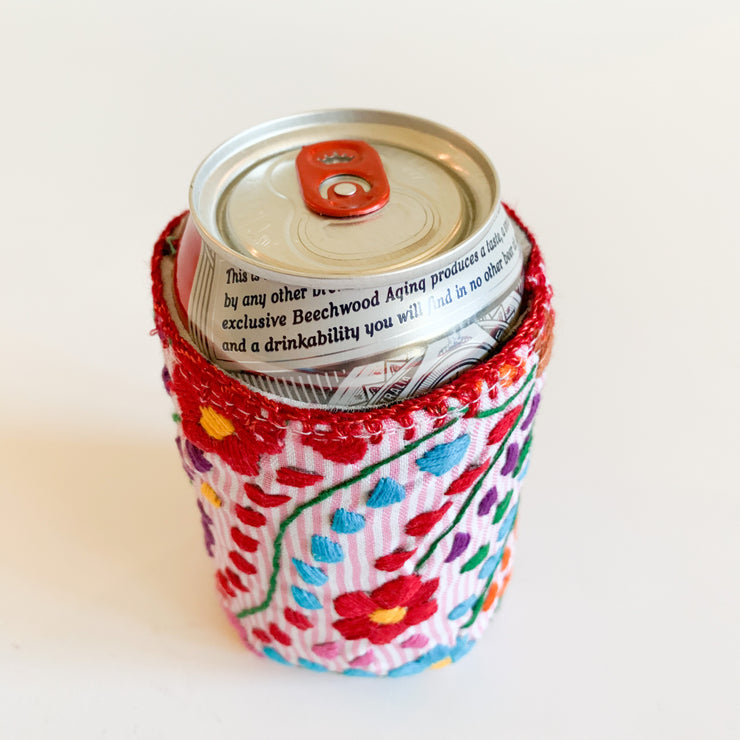 Floral pinstriped Koozie (Light pink/white pinstriped)