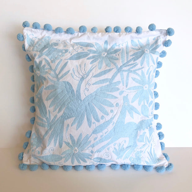 Otomi Pillow with Poms (Light Blue)