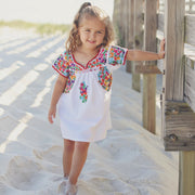 Mi Antonia II: Girl's Short Dress with Multicolor (V-Neck)