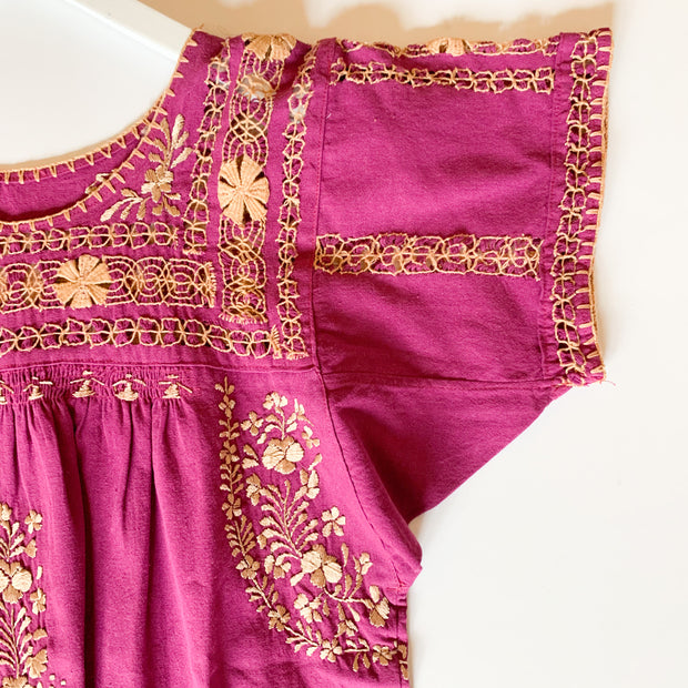 Deshilado Fuchsia with gold Short Sleeve Blouse (Medium)