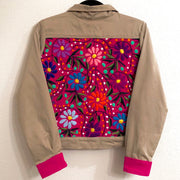 Tan Bomber Jacket with Pink Chiapas Embroidery (Small)