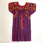 Purple with Red and Green Multi Antonia I Short Sleeve Dress (Medium)