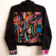 Black Bomber Jacket with Multi Otomi Embroidery (Assorted Sizes)