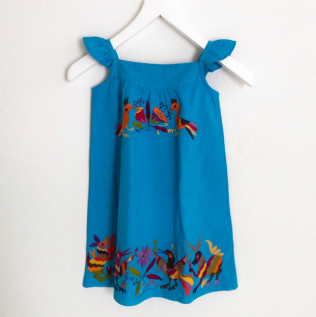 Mi Blanca: Girl's Flutter Sleeve Dress Turquoise with Multicolor