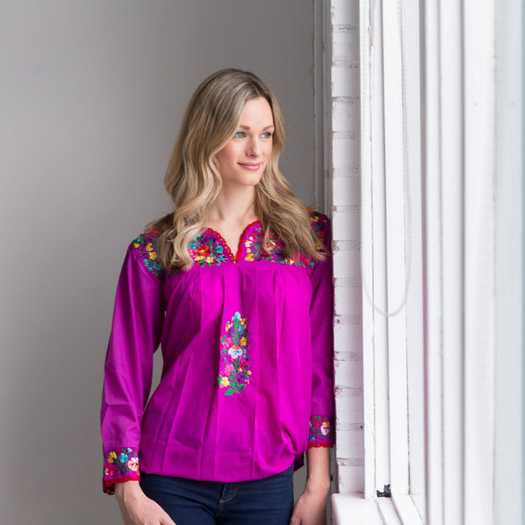 Antonia III Fuschia with Red Multicolor Long Sleeve Blouse (Small)