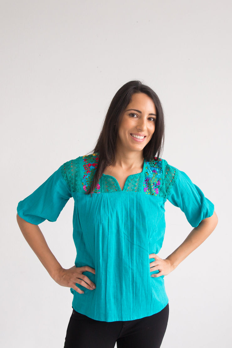 Women's Turquoise Luisa Blouse with Floral Embroidery (One Size)