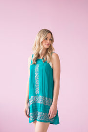Megan Dress in Turquoise with Grey Floral