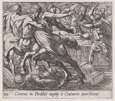 A drawing of the battle against the centaurs
