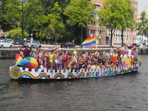 image by Alf van Beem, pride parade canal boat picture
