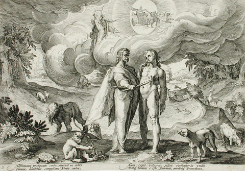 A drawing of 'Prometheus Forms Man and Animates Him with Fire From Heaven'