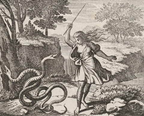 A drawing of Tiresias as a woman striking the snakes