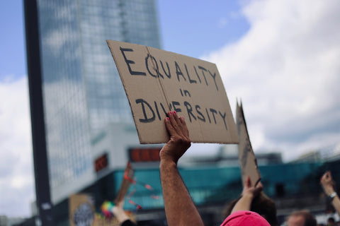 someone holding up a sign that says 'equality in diversity', image by Amy Elting on unsplash