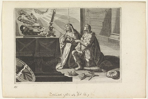 A drawing of Iphis and his mother praying to Isis