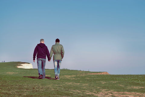 gay couple walking along cliffs holding hands