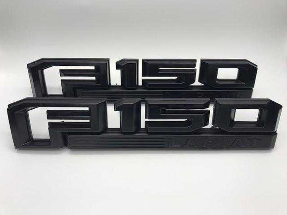 2015-2020 Ford F-150 Lariat Fender Emblem Set Semi Gloss Black