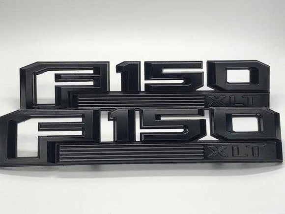 2015-2019 Ford F-150 XLT Fender Emblem Set Semi Gloss Black - OEMAUTOART