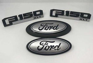 2015-2019 Ford F-150 XLT Custom Painted Grille Oval/ Tailgate Oval / Fender Emblem Set - OEMAUTOART