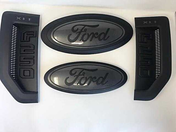 2017-2018 Ford F- Series Super Duty Custom Painted Grille Oval/ Tailgate Oval / Fender Vent Set - OEMAUTOART