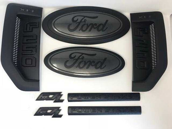 2017-2018 Ford F- Series Super Duty Power Stroke Diesel Custom Painted Grille Oval/ Tailgate Oval / Fender Vent/ 6.7L Powerstroke Door Badging Set - OEMAUTOART