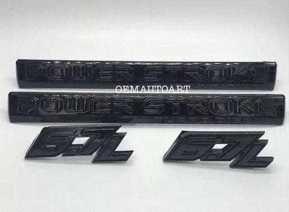 2017-2018 Ford F-Series Super Duty Custom Painted 6.7L Powerstroke Diesel Door Badge Set - OEMAUTOART