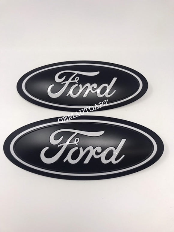2015-2020 Ford Genuine Parts F-150 Custom Painted Grille & Tailgate Oval- Flat Black/ Gloss Oxford White (YZ) | OEMAUTOART