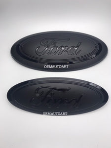 2015-2020 Ford Genuine Parts F-150 Custom Painted Grille & Tailgate Oval- Gloss Black (UA)/ Flat Black | OEMAUTOART