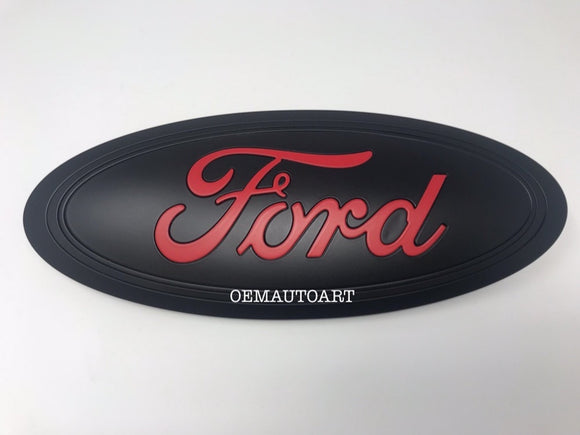 2015-2020 Ford Genuine Parts F-150 Custom Painted Tailgate Oval- Flat Black / Flat Race Red (PQ)