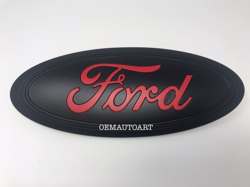 "2017-2019 Ford Genuine Parts Super Duty Custom Painted Tailgate Oval - Flat Black with ""FORD"" in Flat Race Red (PQ)"