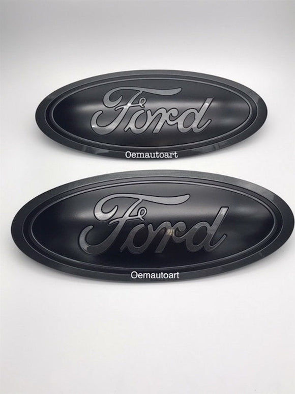 2015-2016-2017-2018-2019 Ford Genuine Parts F-150 Custom Painted Grille & Tailgate Oval- Flat Black / Gloss Magentic (J7) | OEMAUTOART