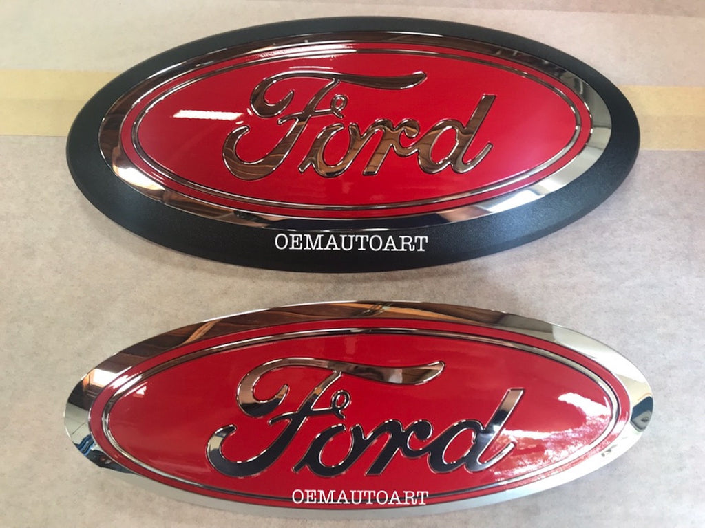 2015+ Ford Genuine Parts F-150 Custom Painted Grille & Tailgate Oval- Chrome/ Gloss Race Red (PQ)