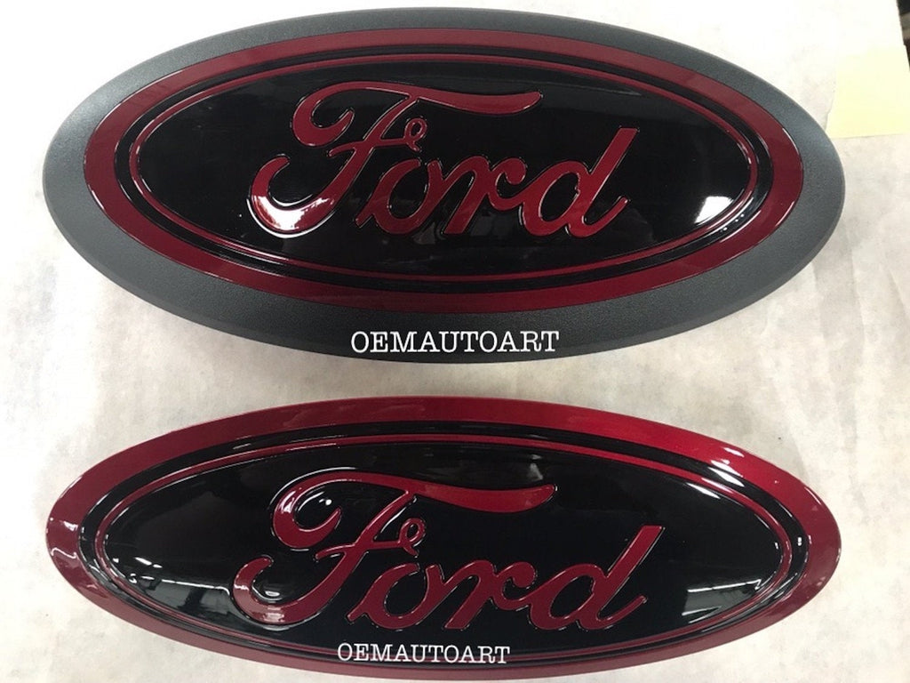 2015+ Ford Genuine Parts F-150 Custom Painted Grille & Tailgate Oval- Gloss Ruby Red (RR)/ Gloss Black (UA)