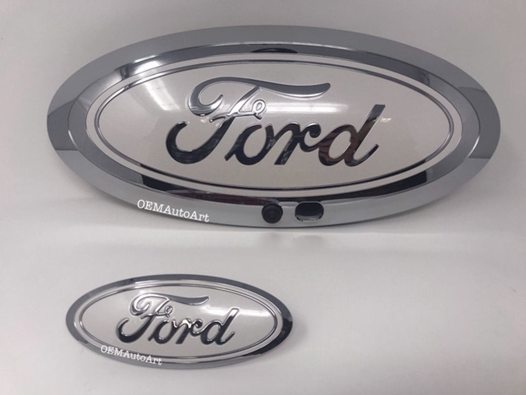 2017-19 Custom Ford F-Series Super Duty F-250/ F-350/F-450/F-550 Grille/ Tailgate Ford Oval Set (W Camera)- Chrome/ White Platinum (UG) | OEMAUTOART