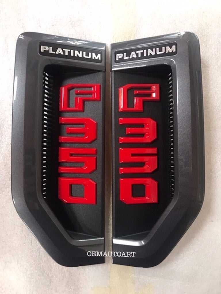 17+ Custom Ford F-Series Super Duty F-350 Platinum Fender Vent Emblem Set- Magnetic (J7)/ Race Red (PQ) | OEMAUTOART