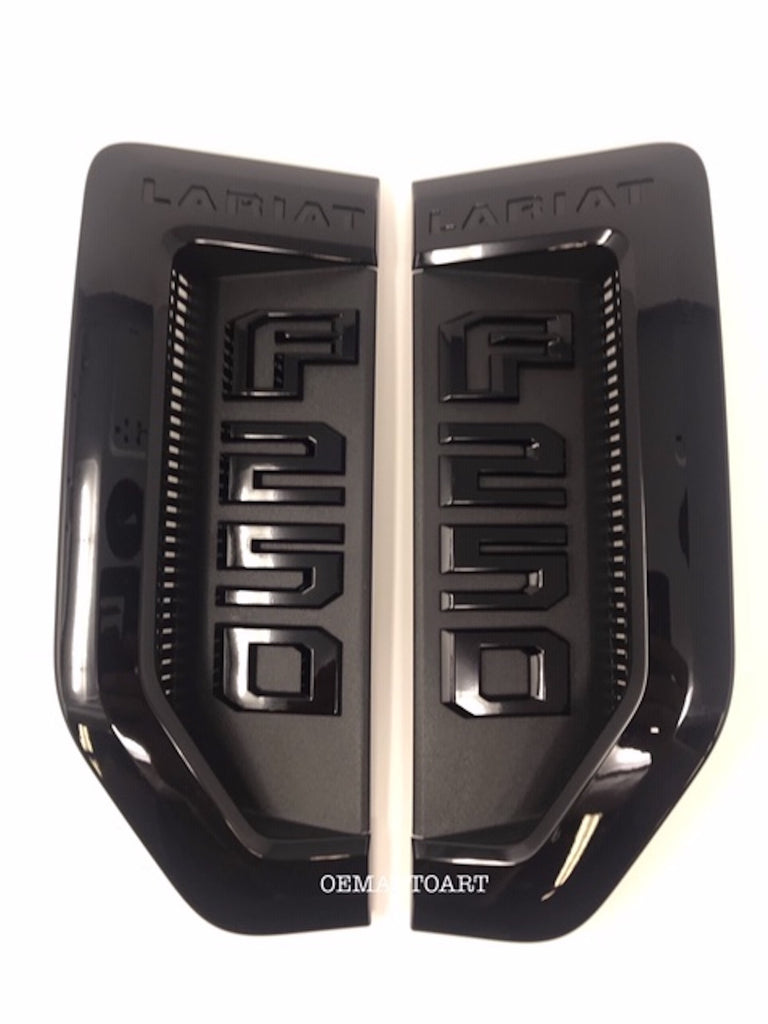 17+ Custom Ford F-Series Super Duty F-250/ F-350 Lariat Fender Vent Emblem Set- Gloss Agate Black (UM) | OEMAUTOART