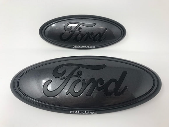 2016-2019 Ford Explorer Custom Painted Grille & Hatch Oval using OEM Parts- Flat Black/ Gloss Magnetic (J7)