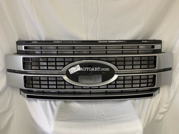 2017-19 Custom Ford F-Series F-250/ F-350/ F-450/ F-550 Super Duty Platinum Grille Custom Painted- Ignot Silver (UX) / Gloss Black (UA) | OEMAUTOART