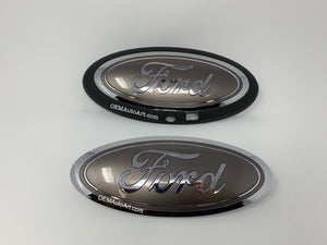 2015-19 Custom Ford F-150  Grille/ Tailgate Ford Oval Set (W Camera hole)- Chrome/ Stone Gray (D1) | OEMAUTOART