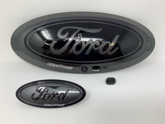 2017-2019 Ford Genuine Parts Super Duty Grille/Tailgate Oval Set (With Camera) - Gloss Magnetic (J7)/ Gloss Black