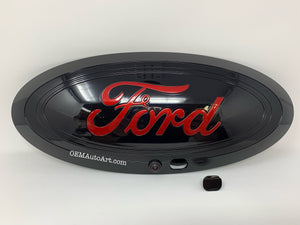 "17+ Custom Ford F-Series Super Duty F-250/ F-350/F-450/F-550 Grille Oval (W Camera)-Gloss Black (UM)/ ""Ford"" Ruby Red (RR) 