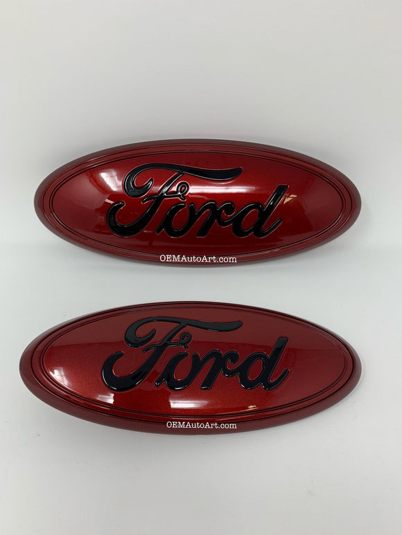 2016-2019 Ford Explorer custom painted grille & hatch oval using oem parts- gloss Ruby Red (RR) w/ FORD in gloss black (UA) | OEMAUTOART