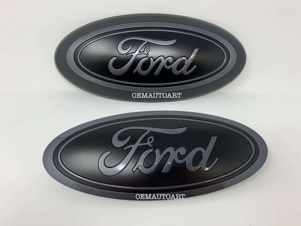 2015-2020 Ford Genuine Parts F-150 Custom Painted Grille & Tailgate Oval- Gloss Gray /Flat Black | OEMAUTOART