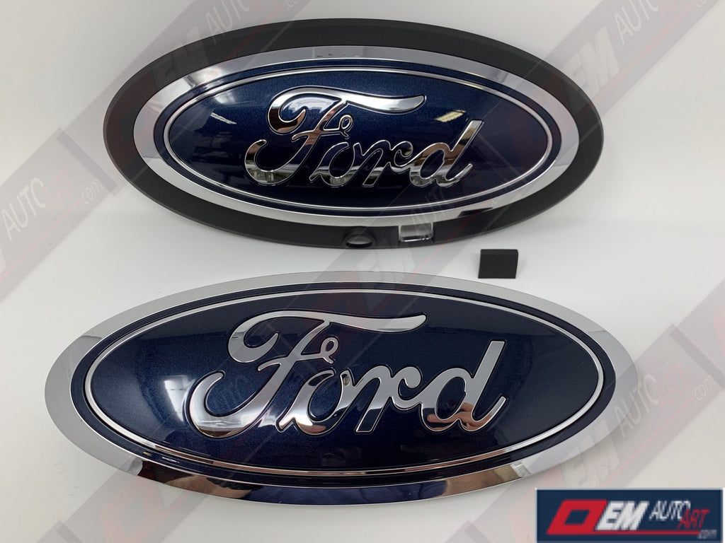 2015-2016-2017-2018-2019 Ford Genuine Parts F-150 Custom Painted Grille & Tailgate Oval- Chrome / Gloss Blue Jeans Met (N1) | OEMAUTOART
