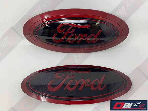 17+ Custom Ford F-Series Super Duty F-250/ F-350/F-450/F-550 Grille/ Tailgate Ford Oval Set- Gloss Ruby Red (RR)/ Gloss Agate Black (UM) | OEMAUTOART