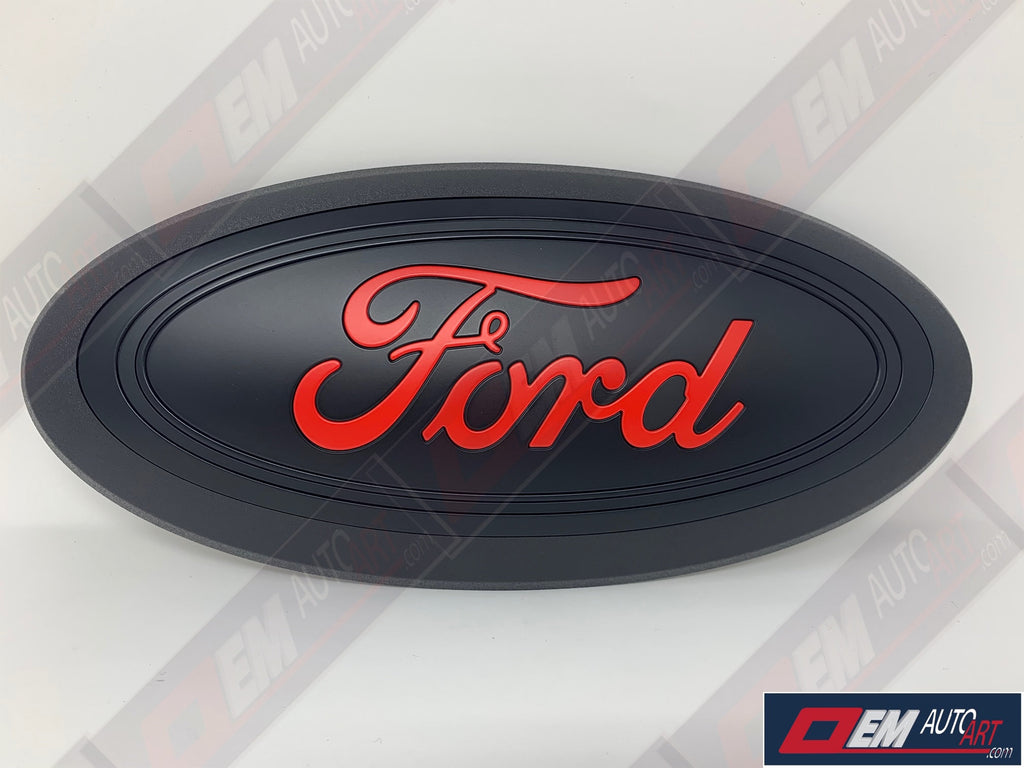 "2015-2016-2017-2018-2019 Ford Genuine Parts F-150 Custom Painted Grille Oval- Flat Black / Flat Race Red (PQ) ""Ford"" 