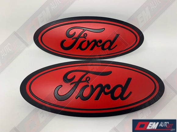 2015-2016-2017-2018-2019 Ford Genuine Parts F-150 Custom Painted Grille & Tailgate Oval- Flat Black/ Flat Race Red (PQ) | OEMAUTOART