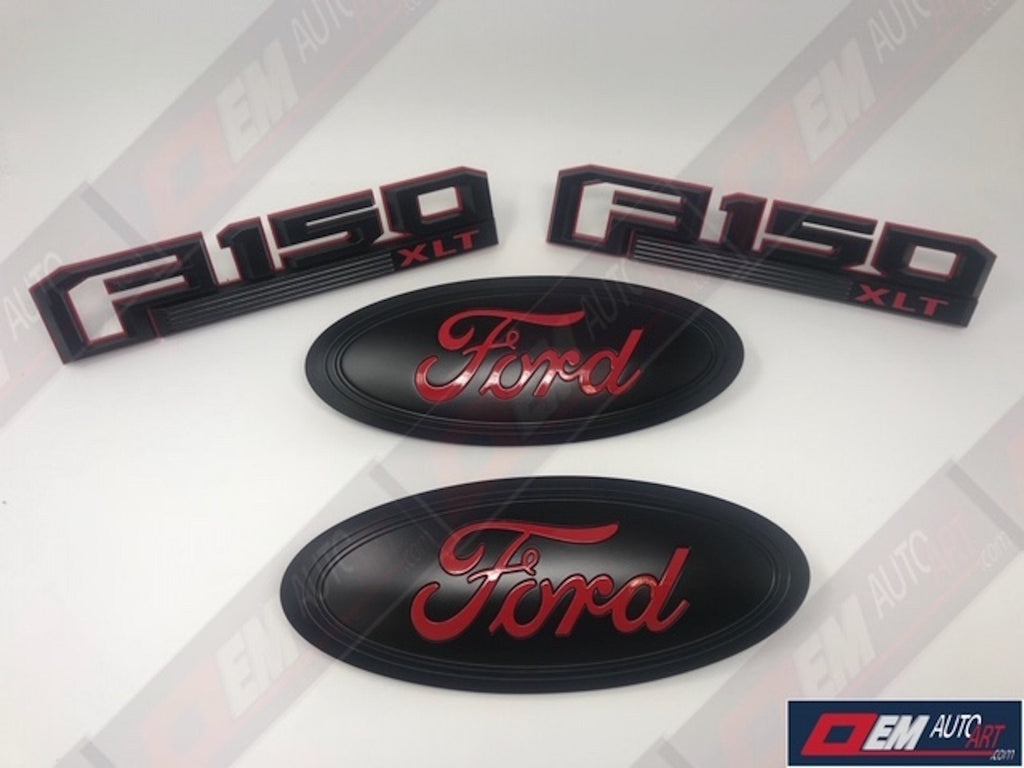 2018-2019 Ford Genuine Parts F-150 XLT or Lariat Special Edition Painted Grille Oval / Tailgate Oval/ Fender Emblem Set/ Tailgate Emblem | OEMAUTOART