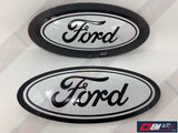 2015-2016-2017-2018-2019 Ford Genuine Parts F-150 Custom Painted Grille & Tailgate Oval W/ Camera- Gloss Black (UA)/ Gloss Oxford White (YZ) | OEMAUTOART