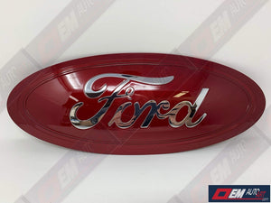 "2017-2020 Ford Genuine Parts Super Duty Custom Painted Tailgate Oval- Gloss Ruby Red (RR) / Chrome ""Ford"" Script 
