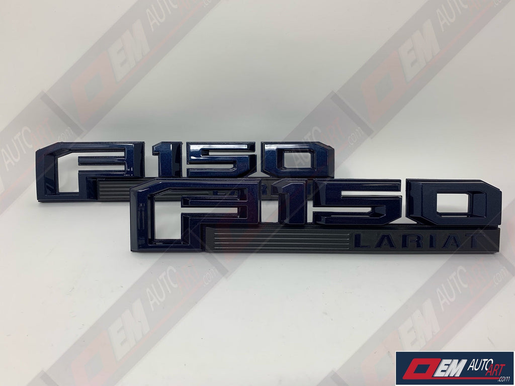 2015+ Ford Genuine Parts F-150 XL/XLT/STX/Lariat/Platinum/Limited Custom Painted Fender Emblem Set- Gloss Blue Jeans Metallic (N1)
