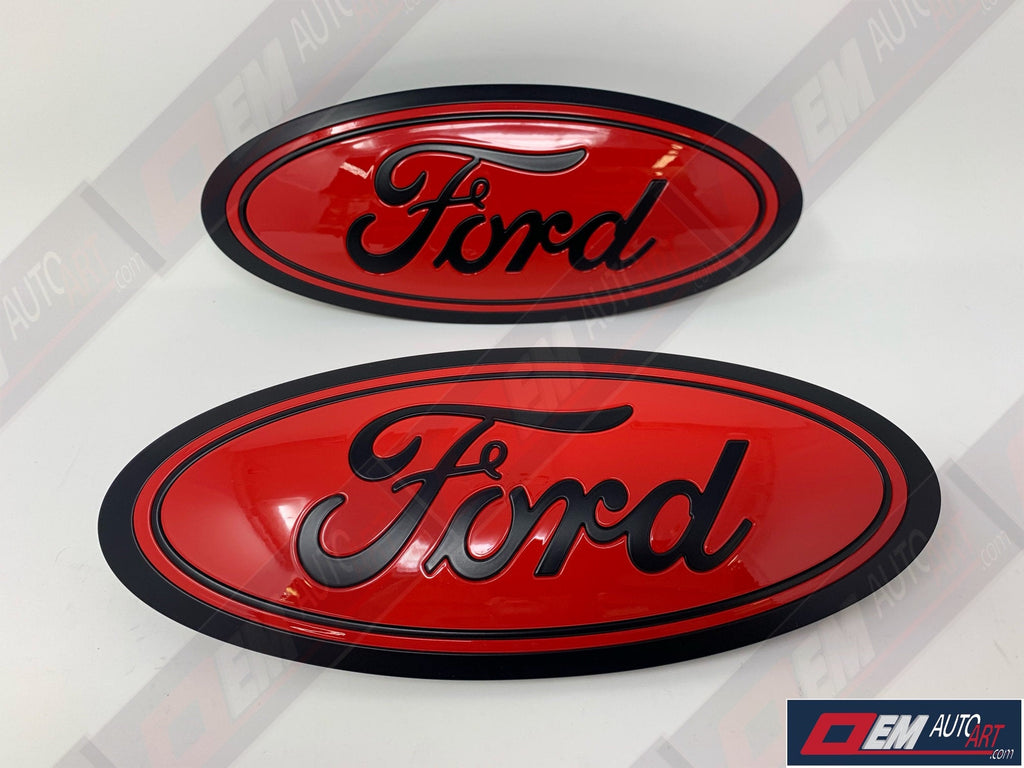 2015-2020 Ford Genuine Parts F-150 Custom Painted Grille & Tailgate Oval- Flat Black/ Gloss Red | OEMAUTOART
